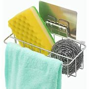 Shelf Adhesive Kitchen Sink Basket Spong With Bar Silver Sus 304 Stainless And