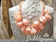 30s Antique Pink Celluloid Flower Cluster Bib Necklace Estate Jewelry Buy-out