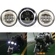 7 In Led Headlight Hi/lo + 2pcs 4.5 In 60w Fog Lights For Harley Touring Glide