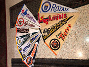 Vintage Full Size Lot 10 Mlb Felt Pennants Giants Tigers Royals And More