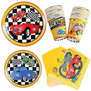 Race Cars Birthday Party Supplies - Tableware Kit Boys Racing Disposable Dessert