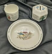 Wedgwood Of Etruria And Barlaston Peter Rabbit Children's Bowl, Cup And Coin Bank