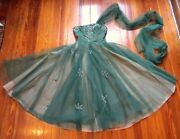 Sale 1950s Green Strapless Ball Gown W/sequined/beaded Flowers W/snap On Shawl