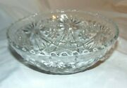 2pcs Anchor Hocking Round Serving Bowls 8.75 And6.75 Star Of David Pattern Clear