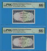 Pair Of Consecutive Serial Number 1951 Pakistan 1 Rupee Notes Pick 8 Pmg 66 Epq