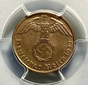 1939 A Germany Third Reich 1 Pfennig Copper Coin - Pcgs Ms 64rd Red