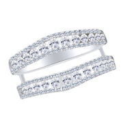 Solitaire Enhancer Round 1.00 Ct Diamonds Ring Guard Wrap 14k White Gold Over
