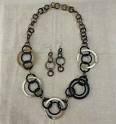 Fashion Buffalo Horn Set Necklace Chunky Chain And Earring Genuine Horn Natural