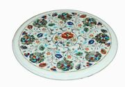 Marble Top Coffee Table Pietra Dura Rare Inlay Antique Mosaic Victorian Az6040