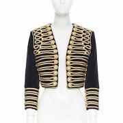 Balmain Black Velvet Gold Rope Embroidery Lion Button Military Cropped Jacket S