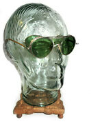 Antique Bausch And Lomb Green Goggles Safety Glasses Vtg Old Cool Pre Rayban Bl