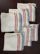 Vintage Kitchen Dish Cloth Towels Set X6 Striped Yellow Blue Red Preowned