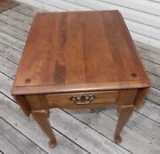 Mid Century Maple Dropleaf End Table / Side Table By Ethan Allen T677