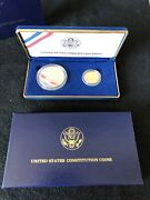 1987 Us Mint Constitution 2 Coin Proof Set 5 Gold And 1 Silver Coin W/box And Coaandnbsp