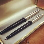 Rare Vintage Two Parker Vacumatic Fountain Pens With Original Box From 1970's