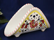 Deruta Italian Pottery Orvieto Rooster Red Napkin Holder Made In Italy