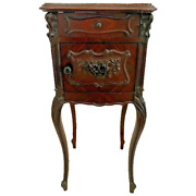 Antique French Humidor Table Marble Top And Interior Cabinet Hand Carved Drawer