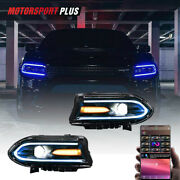 Pair Led Rgb Color Change Drl Projector Headlights For 2015-2020 Dodge Charger