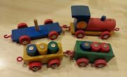 Neiman Marcus Wood Toy Train Vintage West Germany 4 Cars