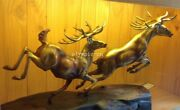 37and039and039 Bronze Sculpture Home Decorate Auspicious Beast Animal Two Deer Sika Deer