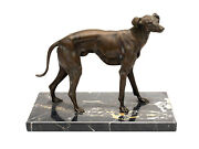 19th Century Large Bronze Sculpture Of A Greyhound - Whippet On A Marble Base