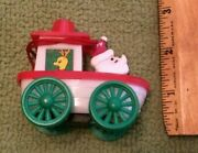 Antique Santa Claus Pull Toy Boat Hong Kong Rare Collectible Reindeer Plastic