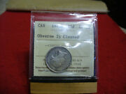 1872 H Canada Silver Quarter Dollar Coin  I.c.c.s. Graded Ef-40  Cleaned