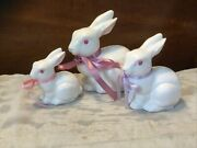 Lot Of 3 Geo. Z Lefton Hand Painted White Ceramic Rabbit Easter Bunny Figurines