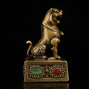 4.3 Collect Chinese Bronze Inlay Gem Tiger Beast Seal Signet Statues
