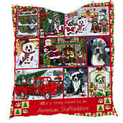 Personalized Christmas Love Is Owned American Staffordshire Terrier Dogs Quilt