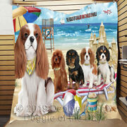 Personalized Pet Friendly Beach Cavalier King Charles Spaniel Dogs Lovers Quilt