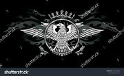 Coat Of Arms Eagle In Crown Ceramic Tile Sho9 Reverse Dot Mural 3x6 Ft And 4x8