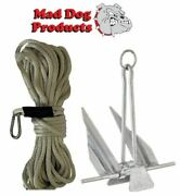 Silver 100and039 X 1/2 Anchor Line And Slip Ring Anchor Pack - 5 Lb. Steel Anchor