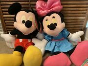Vintage Disney Talk And Giggle Minnie Mickey Mouse Lot Plush Large Jumbo About 31