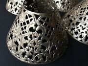 Vtg Antique Set 4 Openwork Pierced Cut Patterned Silver Metal Candle Lamp Shades