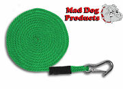 Green Boating Launch Line W/ Stainless Steel Clip- 1/2 X 20and039 Line - Made In Usa