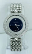 Versace Eon 79q99 Womenand039s Outer Rotating Case Ring With Black Enamel Dial Watch