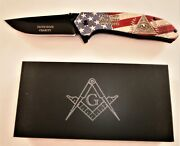 8 Masonic Vintage Spring Assisted Pocket Knife - Free And Accepted Masons