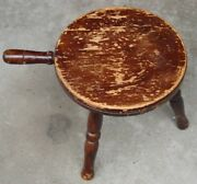 Nice Primitive Antique Vintage Barn Milking Stool With 3 Turned Legs And Handle