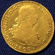 Kingdom Of Spain 1800m Mf Gold 2 Escudos - Lustrous And Original Looking
