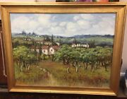 C. Francis Oil On Canvas Cottage Country Side Painting Signed Framed