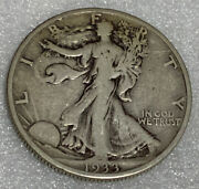 1933s Walking Liberty Silver Half Dollar F+ Free Shipping With Five Items C