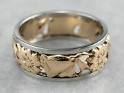 Two Tone Gold Floral Band