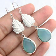 Aqua Chalcedony 925 Sterling Silver Indian Traditional Jewelry Earring Nk647