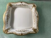 Antique Nippon And039mand039 Square Trinket Vanity Dresser Dish Hand Painted Gold Trim