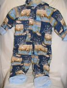 Baby Outerwear Flannel Lined W/ Terry Cloth Hood Hook And Loop 3-4 Yrs Bunny