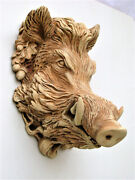 Boar Mask Sculpture Brown Color Collectible Covered With Bronze Patina Free Ship