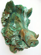 Boar Mask Sculpture Green Color Collectible Covered With Bronze Patina Free Ship