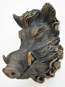 Boar Mask Sculpture Black Color Collectible Covered With Bronze Patina Free Ship
