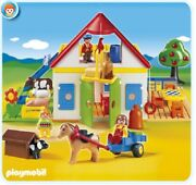 New Playmobil 1.2.3. Large Farm Barn House With Animals And Horse Wagon Set 6750